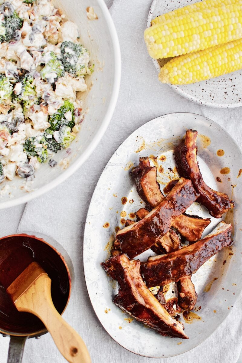 Instant Pot BBQ Ribs and dinner fixins