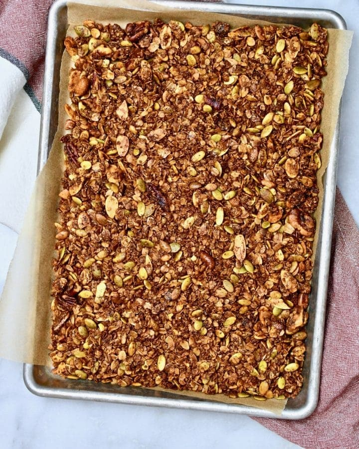 Pumpkin Seed Granola on a sheet pan.