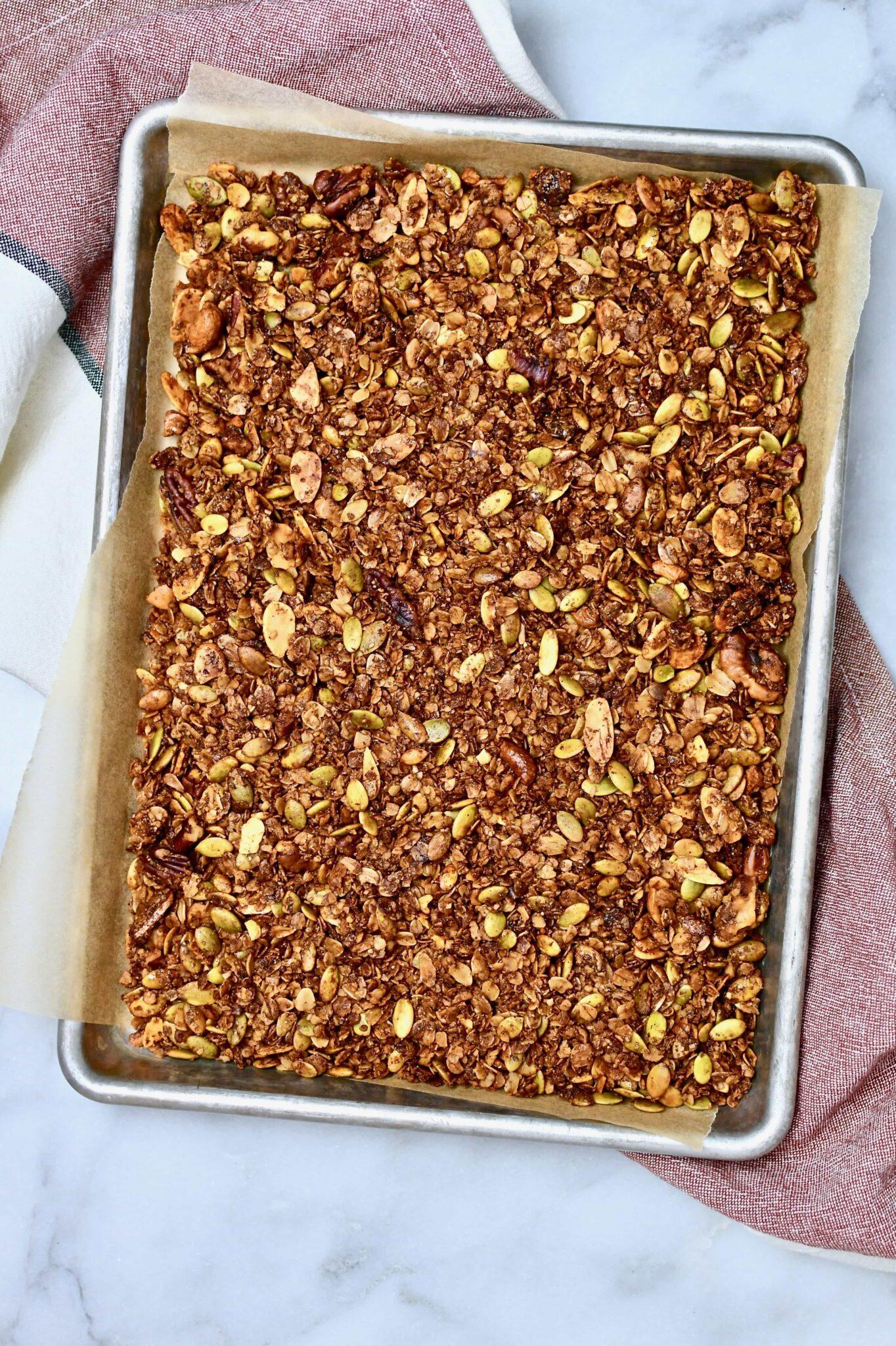 Pumpkin Seed Granola on a sheet pan.