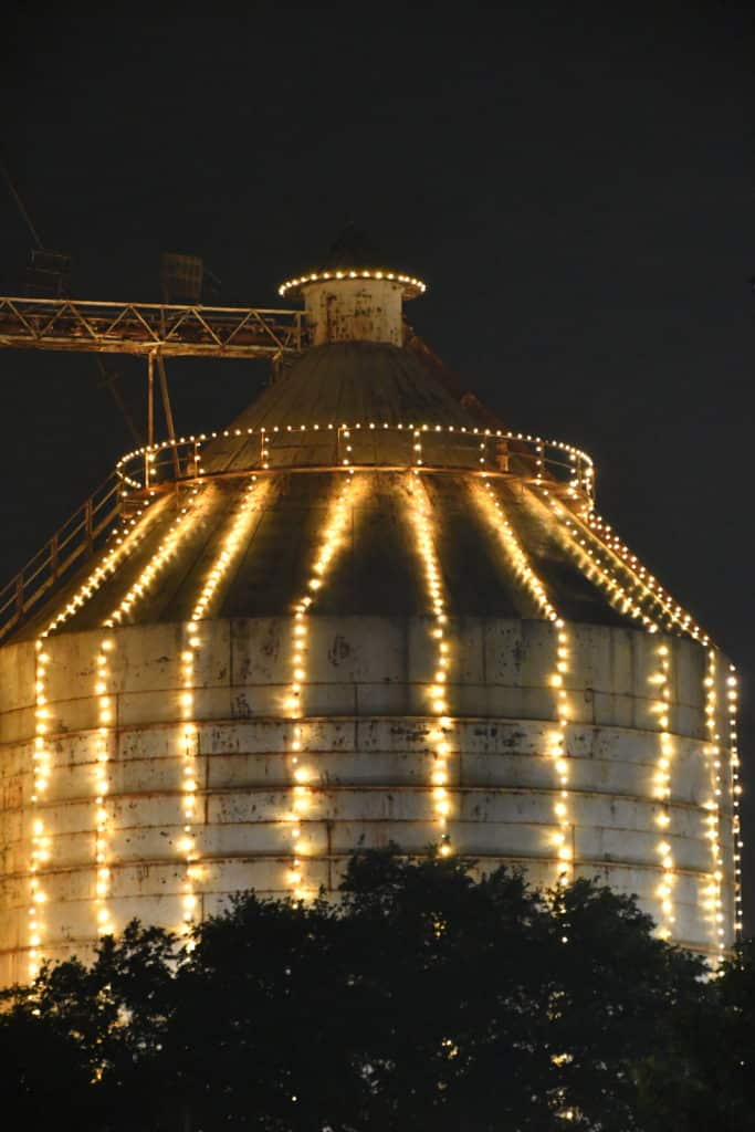 Magnolia Market Silo lit up at Christmas Time