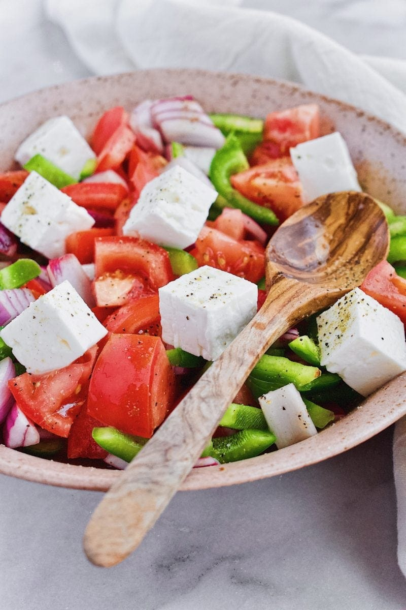 Greek Salad topped with Feta Cheese Cubes