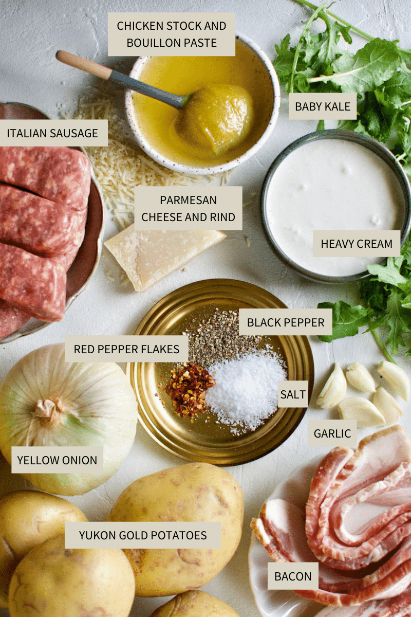 Ingredients needed to make Zuppa Toscana Soup.