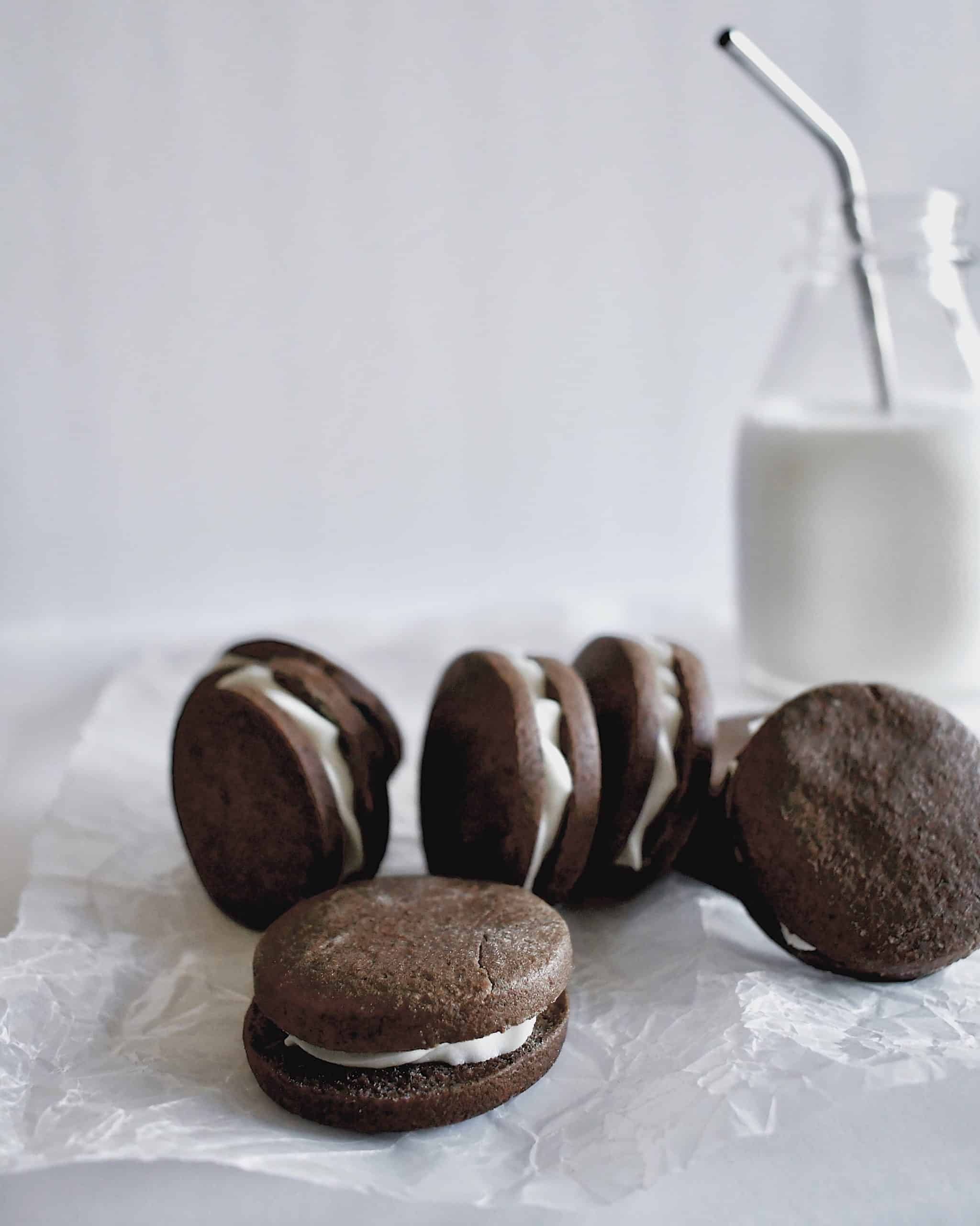 Homemade Oreo Style Cookies and milk.