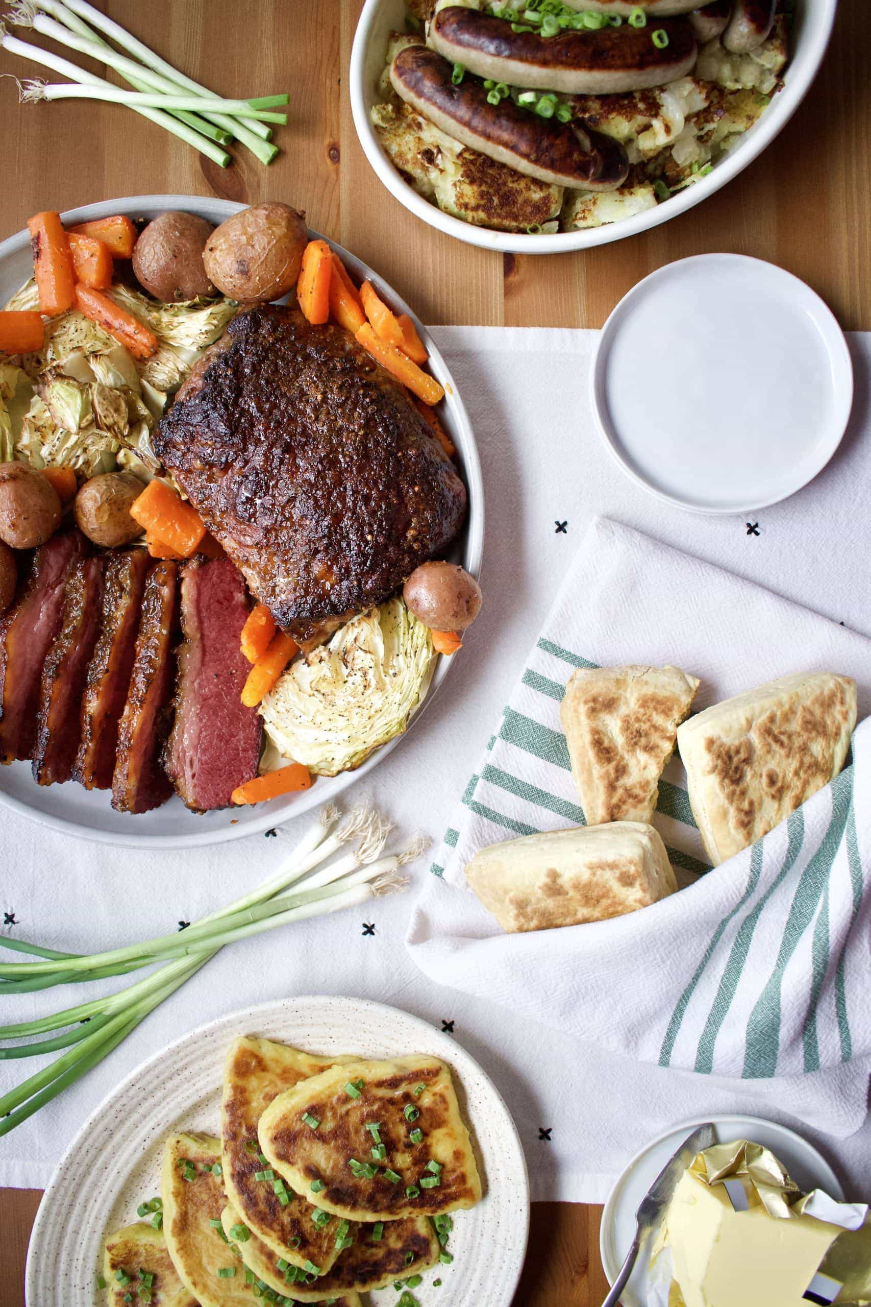 a classic Irish-American feast laid out on a table.