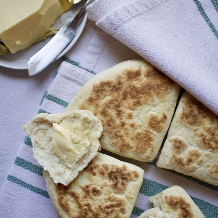 Homemade Irish Potato Bread with Irish butter on top.