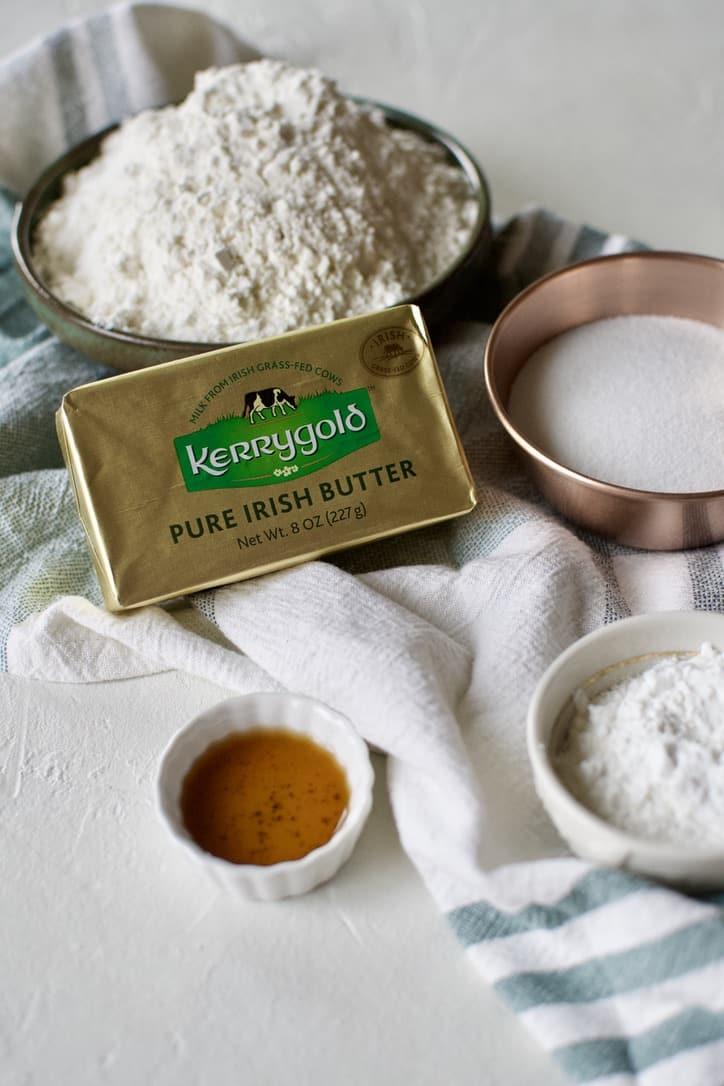 Ingredients needed to Make Irish Shortbread.