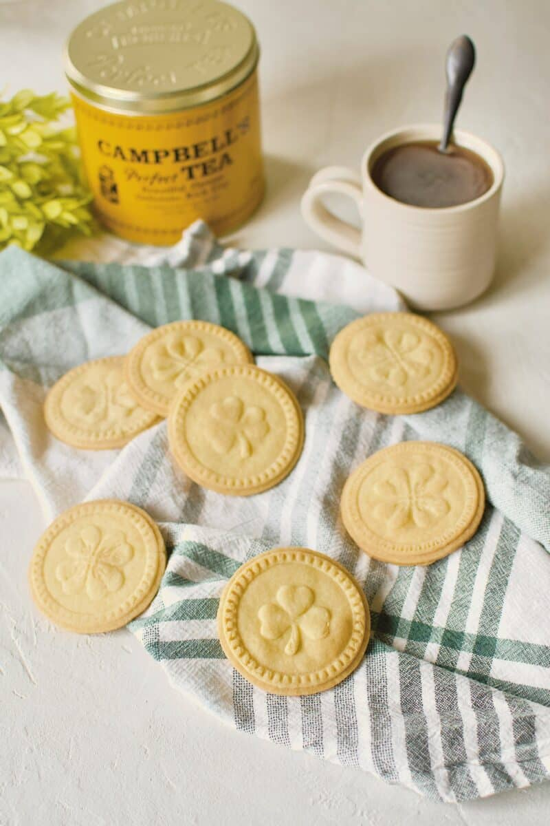 Irish Shortbread Cookies/Biscuits on a green striped towel.