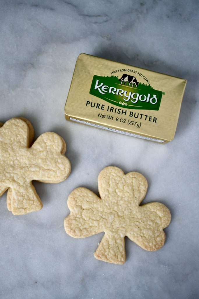 Irish Butter and Irish Shortbread Cookies on a Marble Board