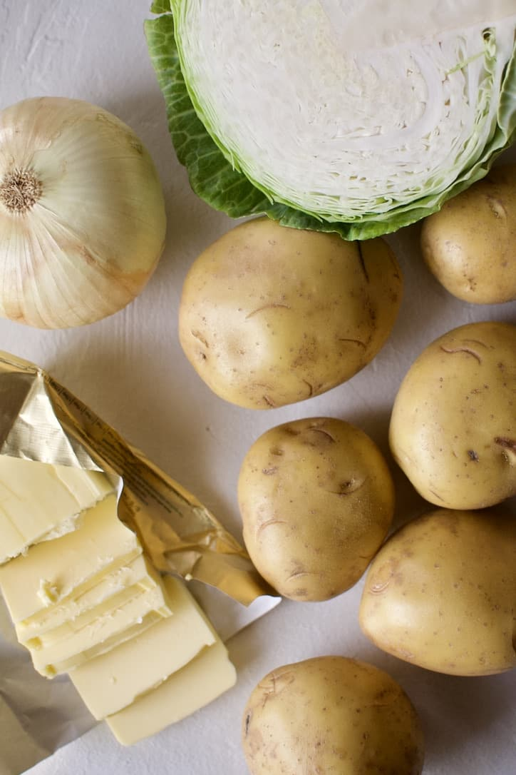 Ingredients needed to make Irish Colcannon Potatoes.