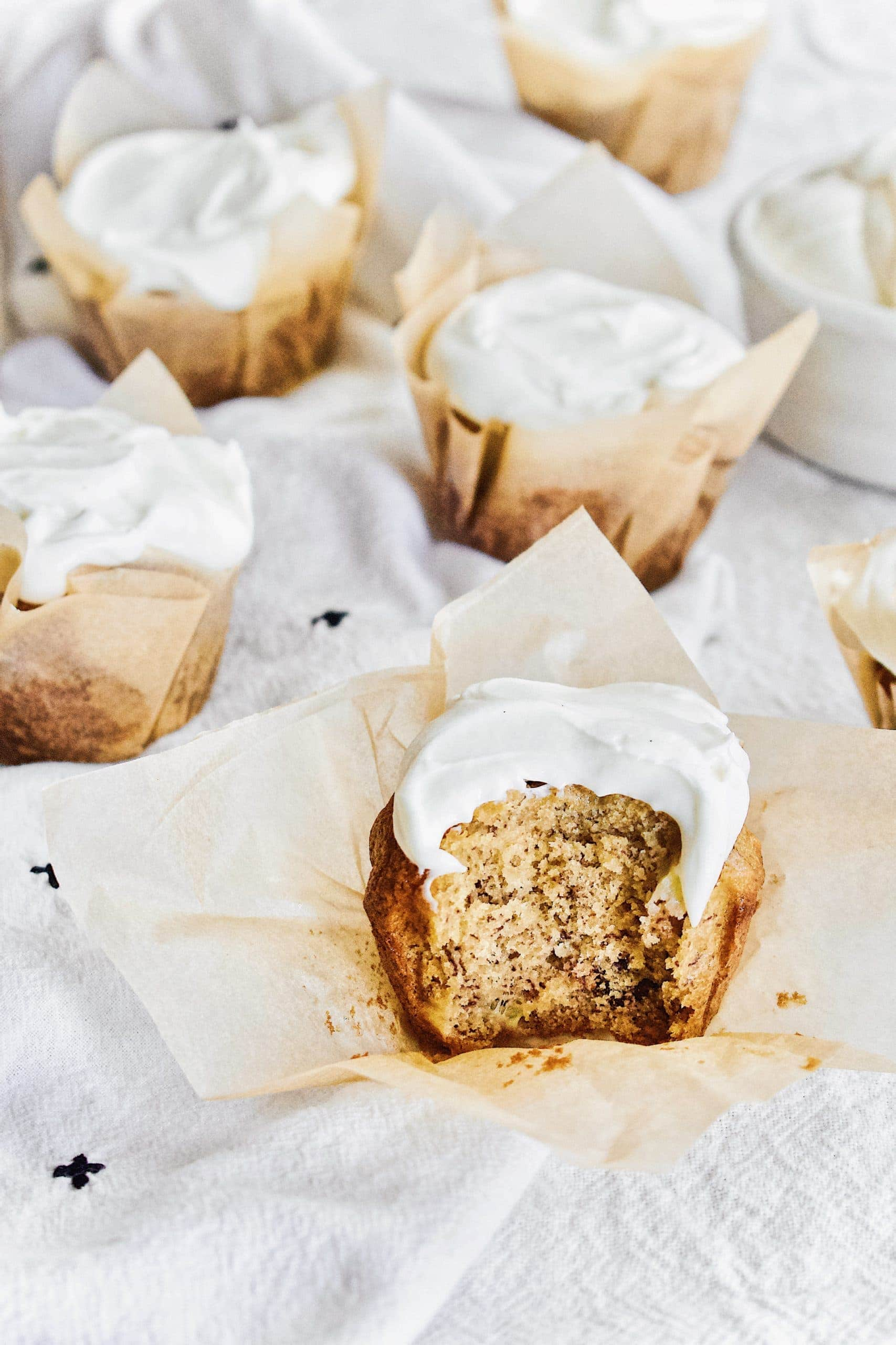 Banana Nut Muffins with Cream Cheese Frosting