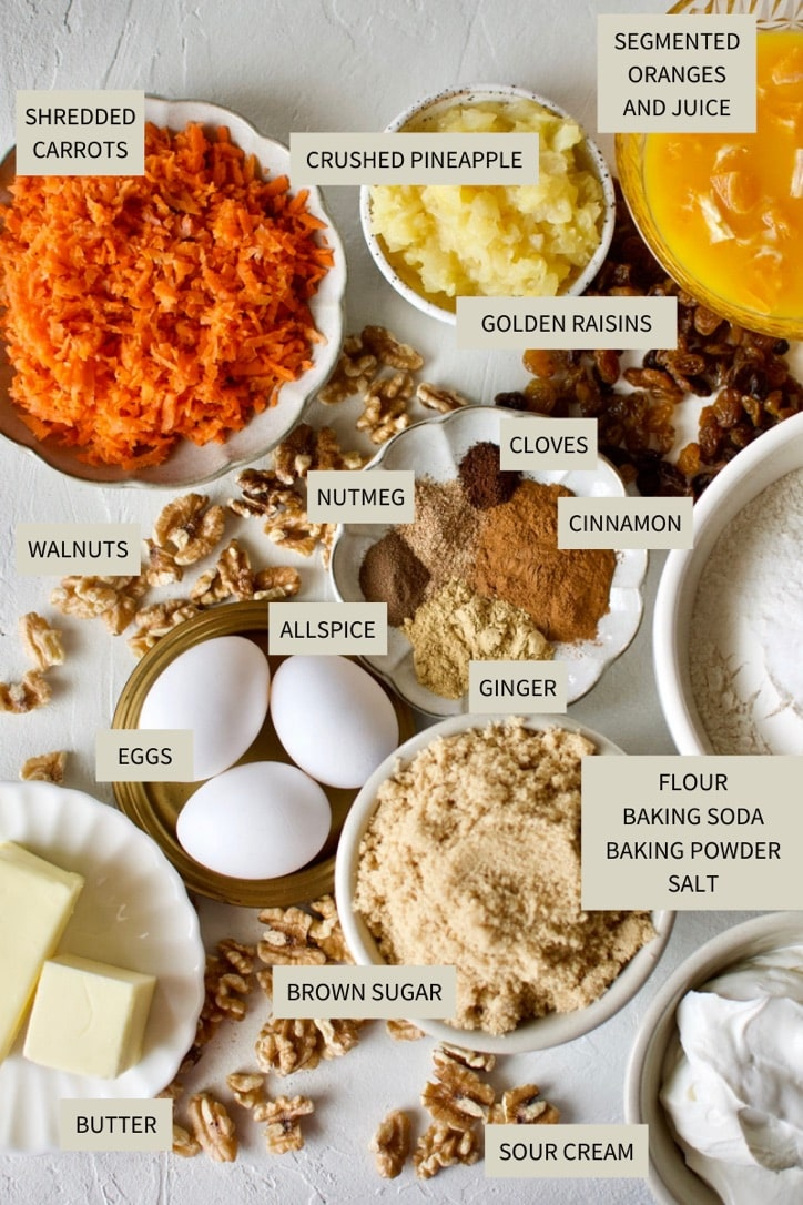 Ingredients needed to make Carrot Cake with Pineapple and Orange.