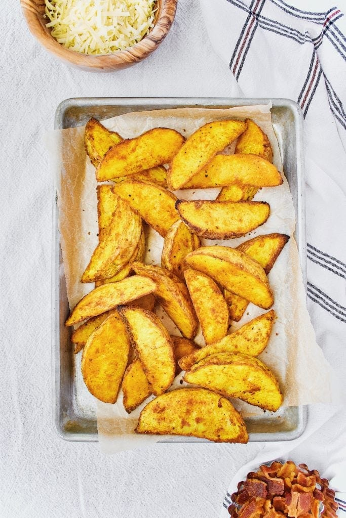 Turmeric Potato Wedges after roasting