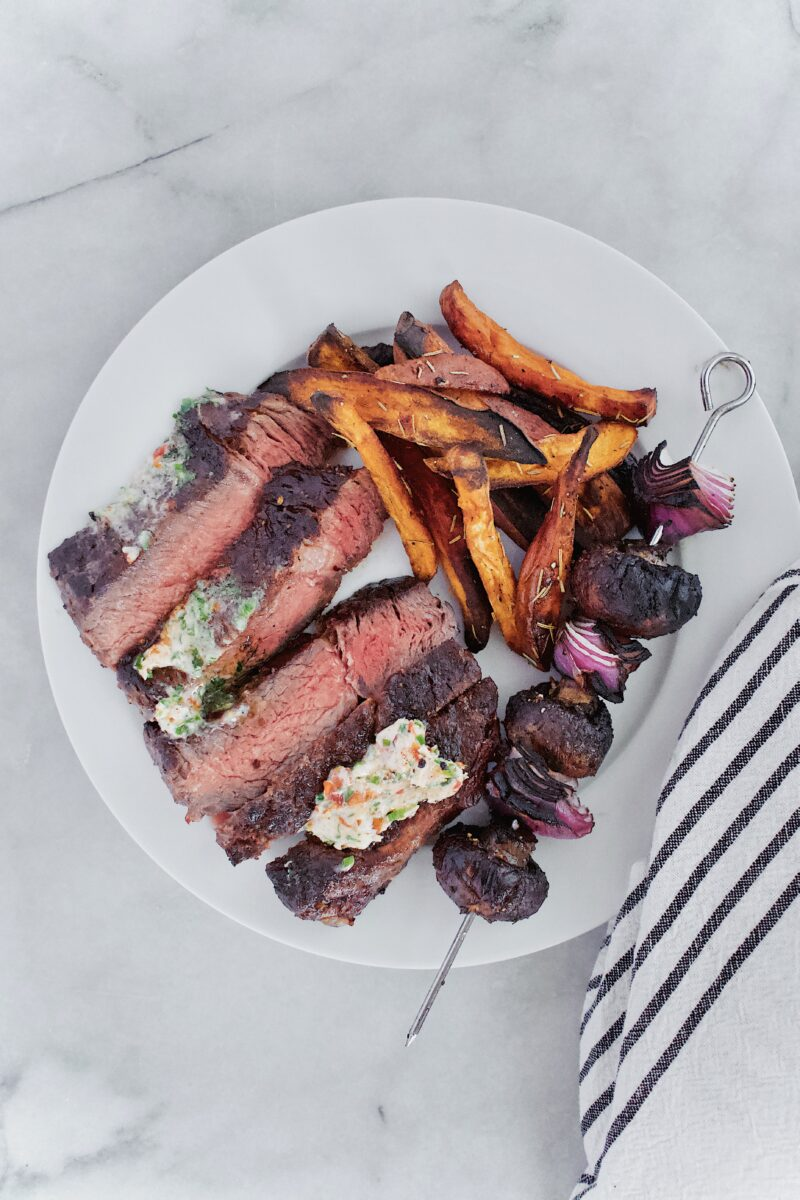 Joanna Gaines recipe for Becki's Herb Butter served on Rib Eye Steak