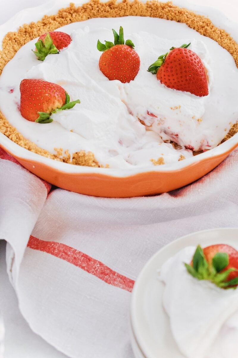 Joanna Gaines Strawberry Pie from the Magnolia Table Cookbook served on white plates