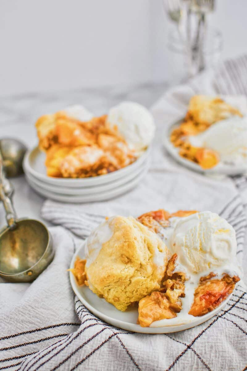 Skillet Peach Cobbler with Bourbon Brown Sugar Crumble
