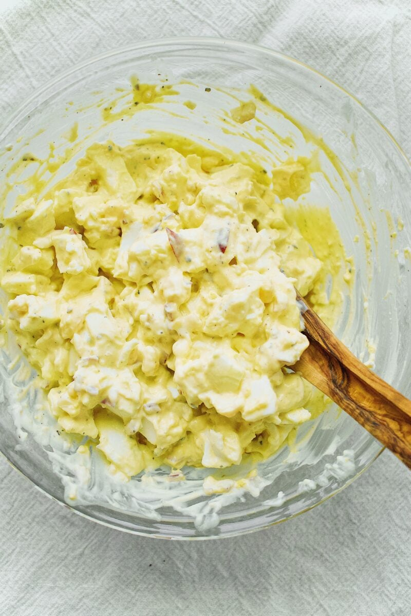 Egg Salad Mixed in a Bowl