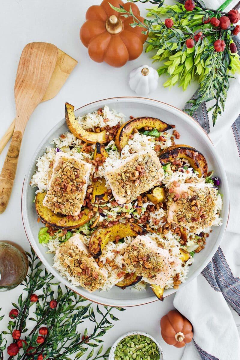 Pepita Crusted Salmon Salad