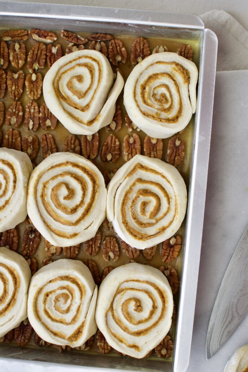 Pumpkin Spice Cinnamon Rolls before proofing