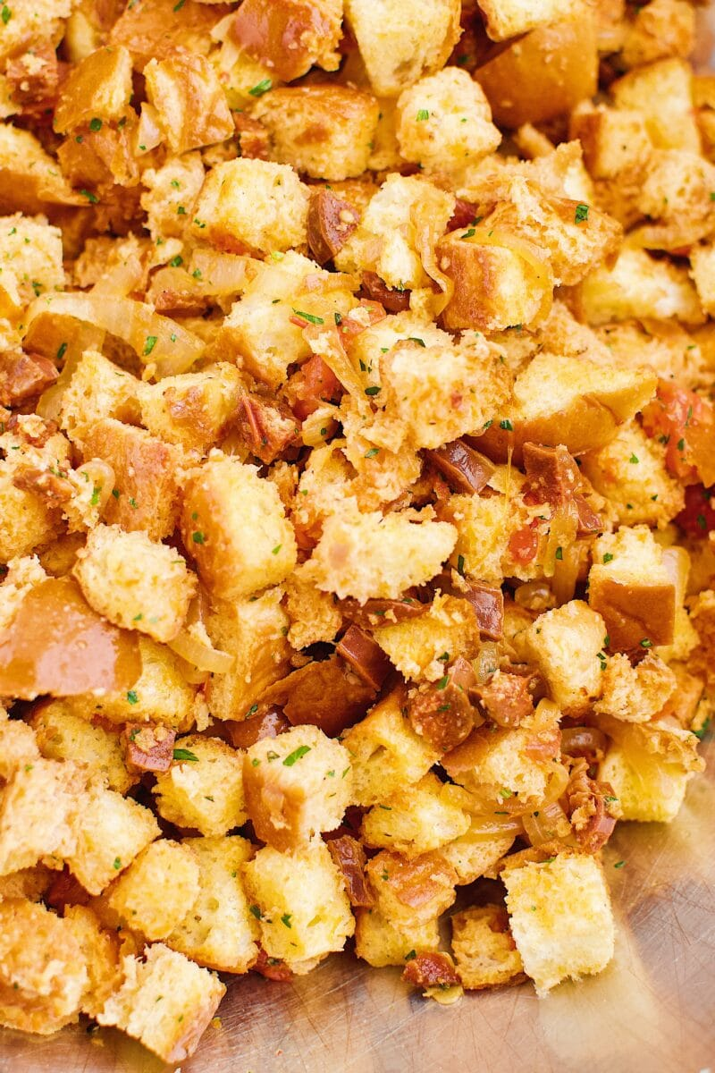 fully combined stuffing ready to be baked