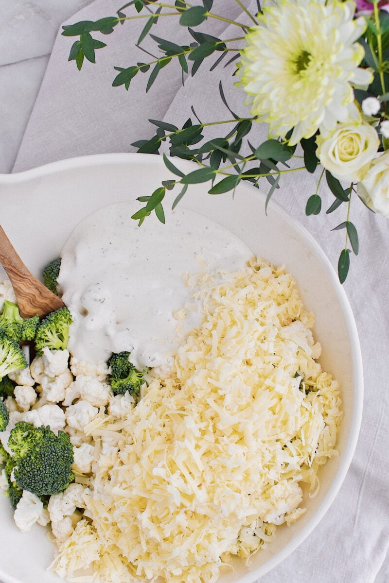 Cabot Clothbound grated into the broccoli and cauliflower