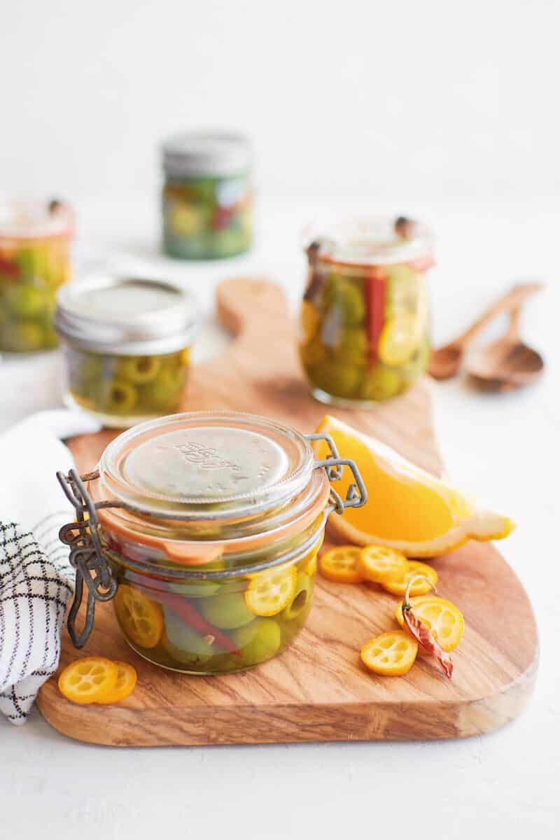 finished marinated olives with kumquats and chili