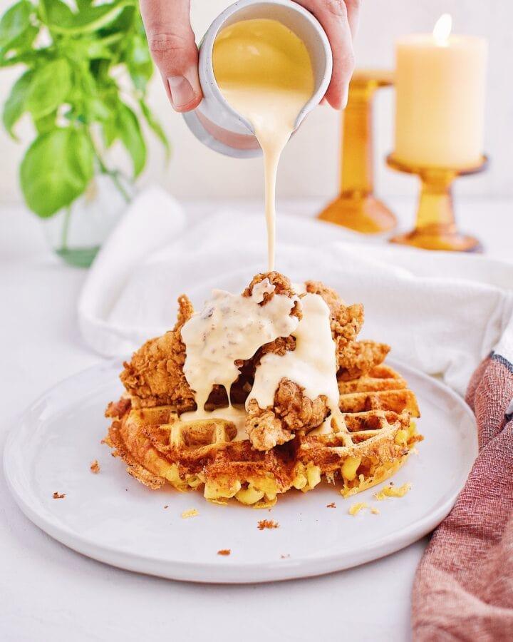 Chicken & Mac n' Cheese Waffles