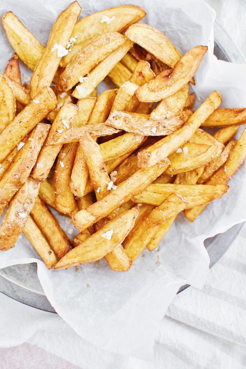 Yukon gold potatoes and cut into fries and deep fried twice