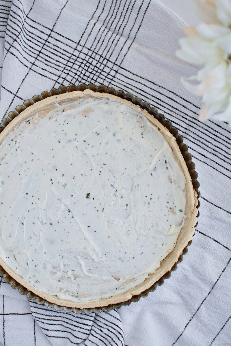 Parmesan Pie Crust, par baked and topped with boursin cheese