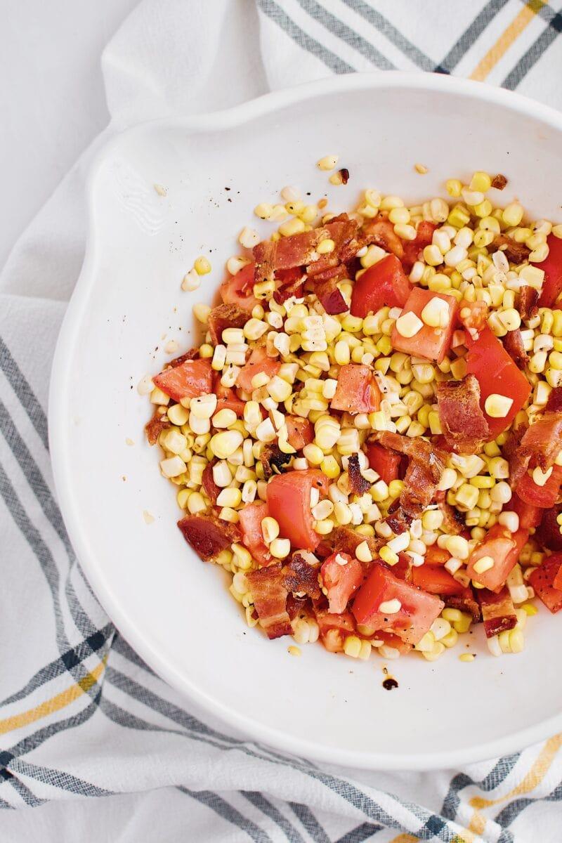 bacon, corn, and tomato salad