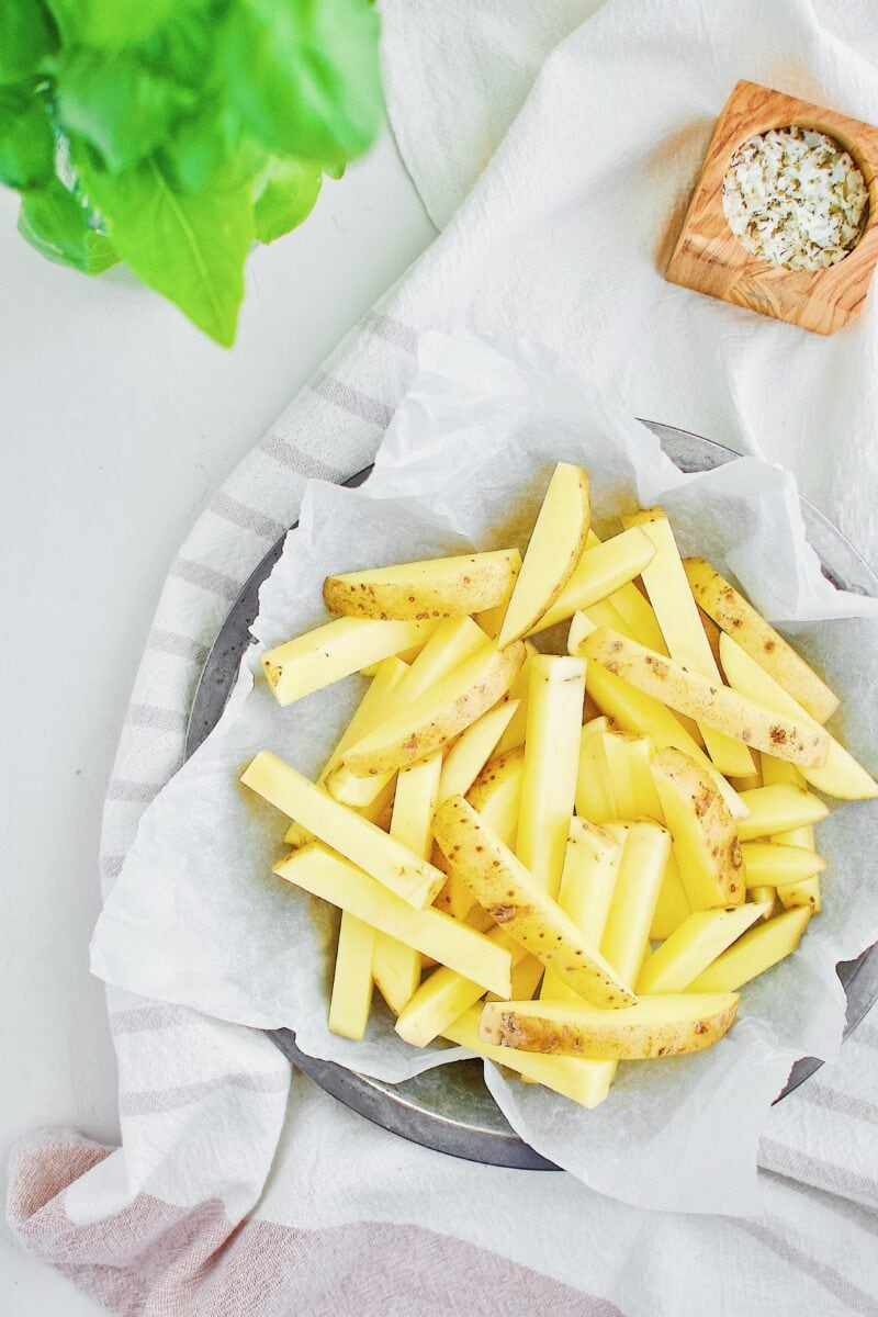 Yukon gold potatoes cut into fries
