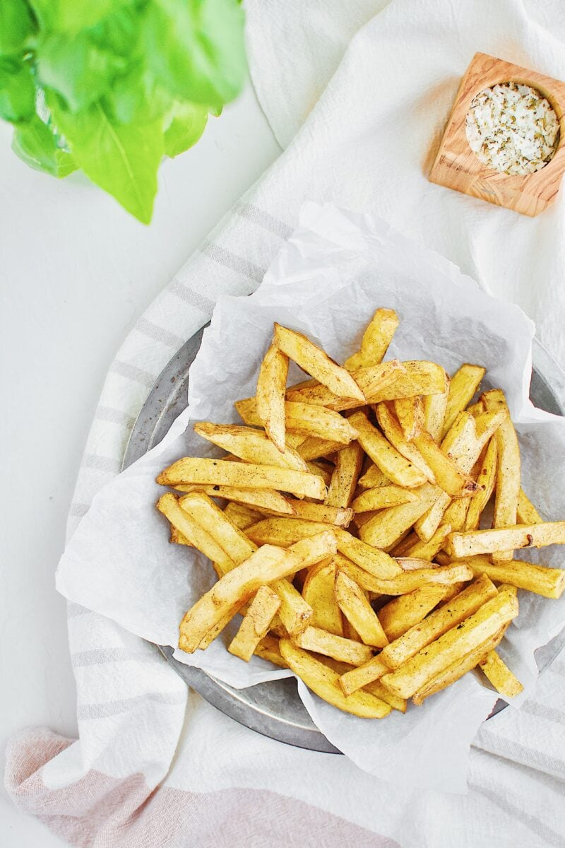 Yukon gold potatoes and cut into fries and deep fried once