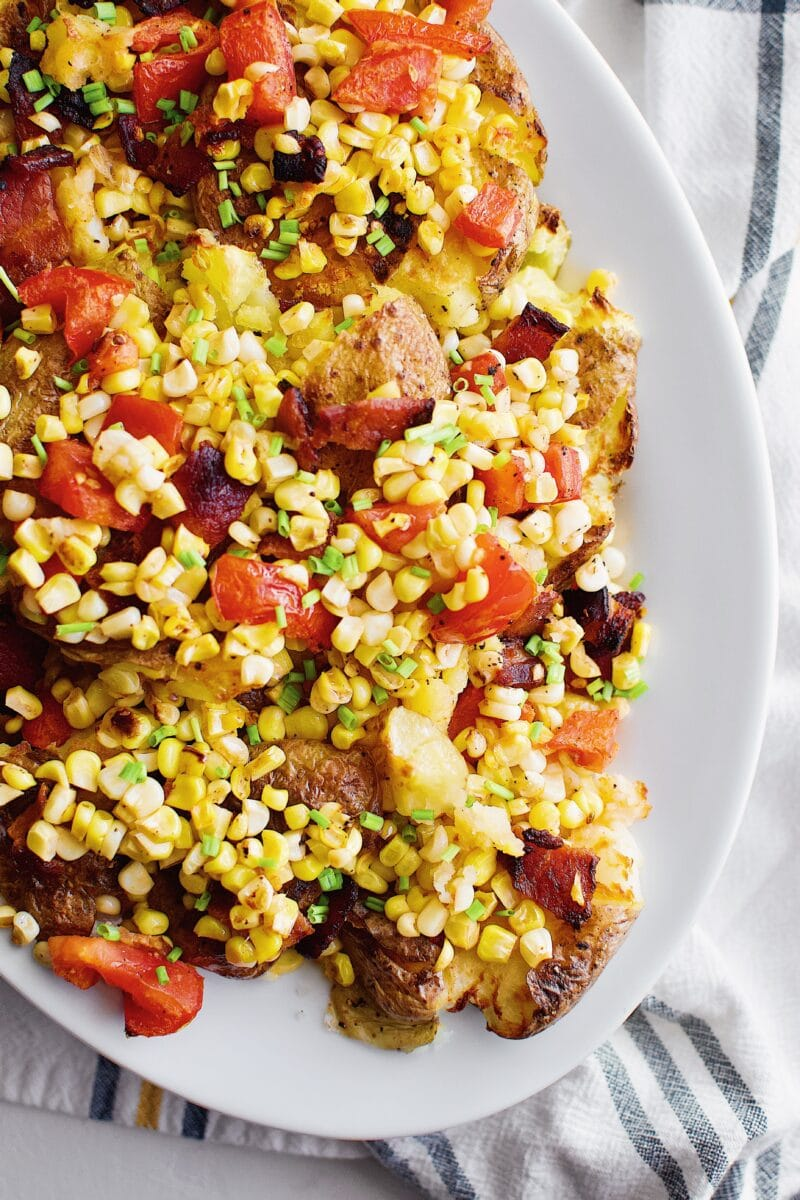 Smashed Potatoes with Corn, Tomato, and Bacon Salad