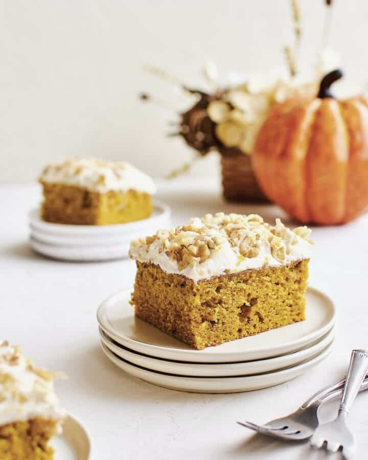 Pumpkin Cake sliced and ready to serve