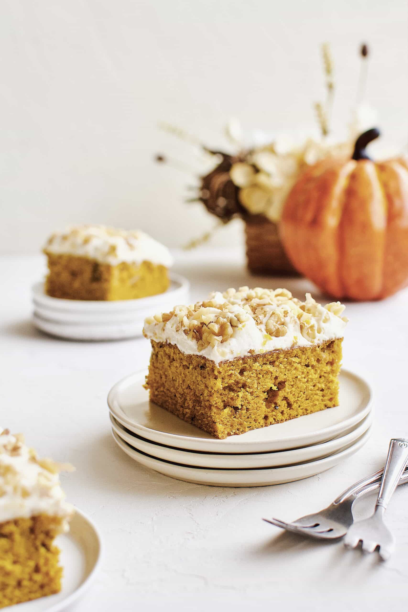 Pumpkin Cake sliced and ready to serve