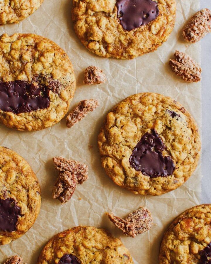 Pumpkin Chocolate Chunk Oatmeal Cookies.