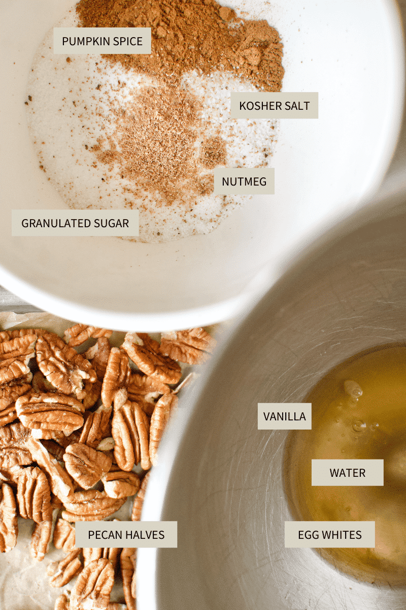 ingredients needed to make pumpkin spice praline pecans