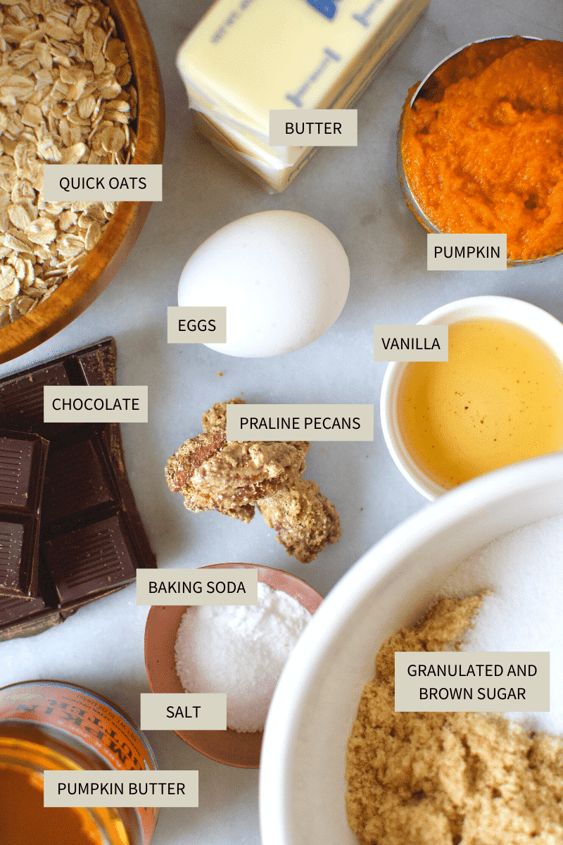 Pumpkin Oatmeal Cookies ingredients