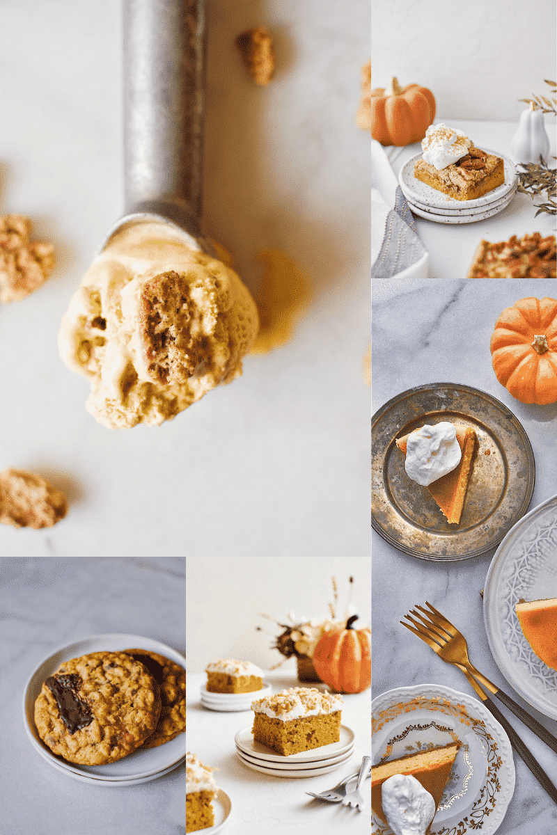 5 Pumpkin Desserts, Pumpkin Cardamom Ice Cream, Pumpkin Chocolate Chunk Oatmeal Cookies, Pumpkin Walnut Cake, Pumpkin Dessert Bars, Perfect Pumpkin Cheesecake