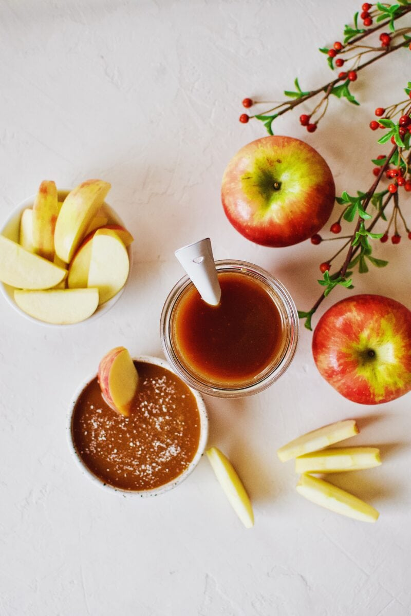Homemade Caramel Sauce with apples for dipping.