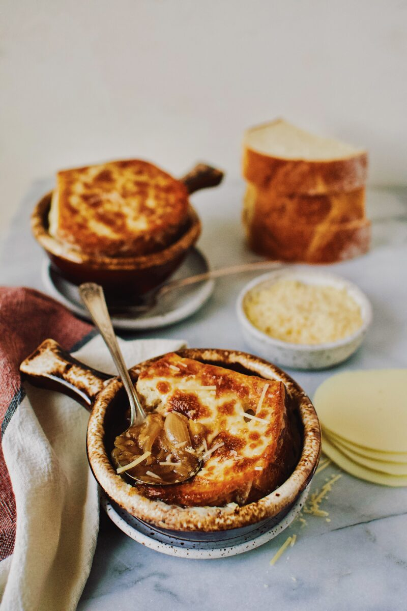French Onion Soup the way mom used to make in a single serve brown crock.