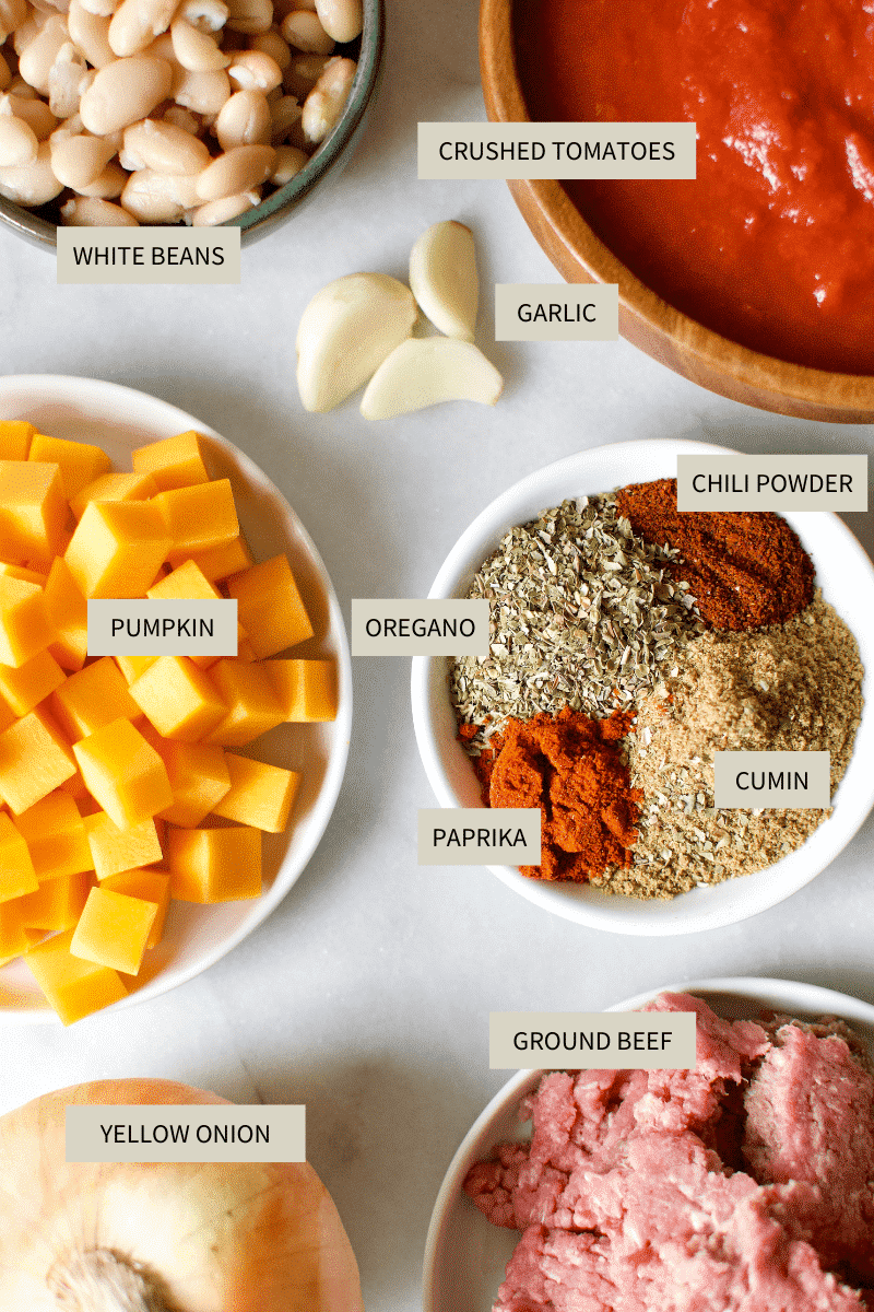 Ingredients needed to make Pumpkin Chili