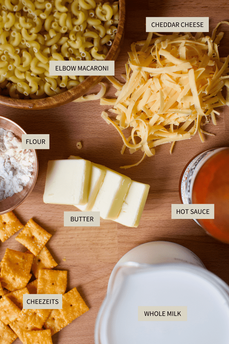 Ingredients for making Cheez-It mac and cheese.