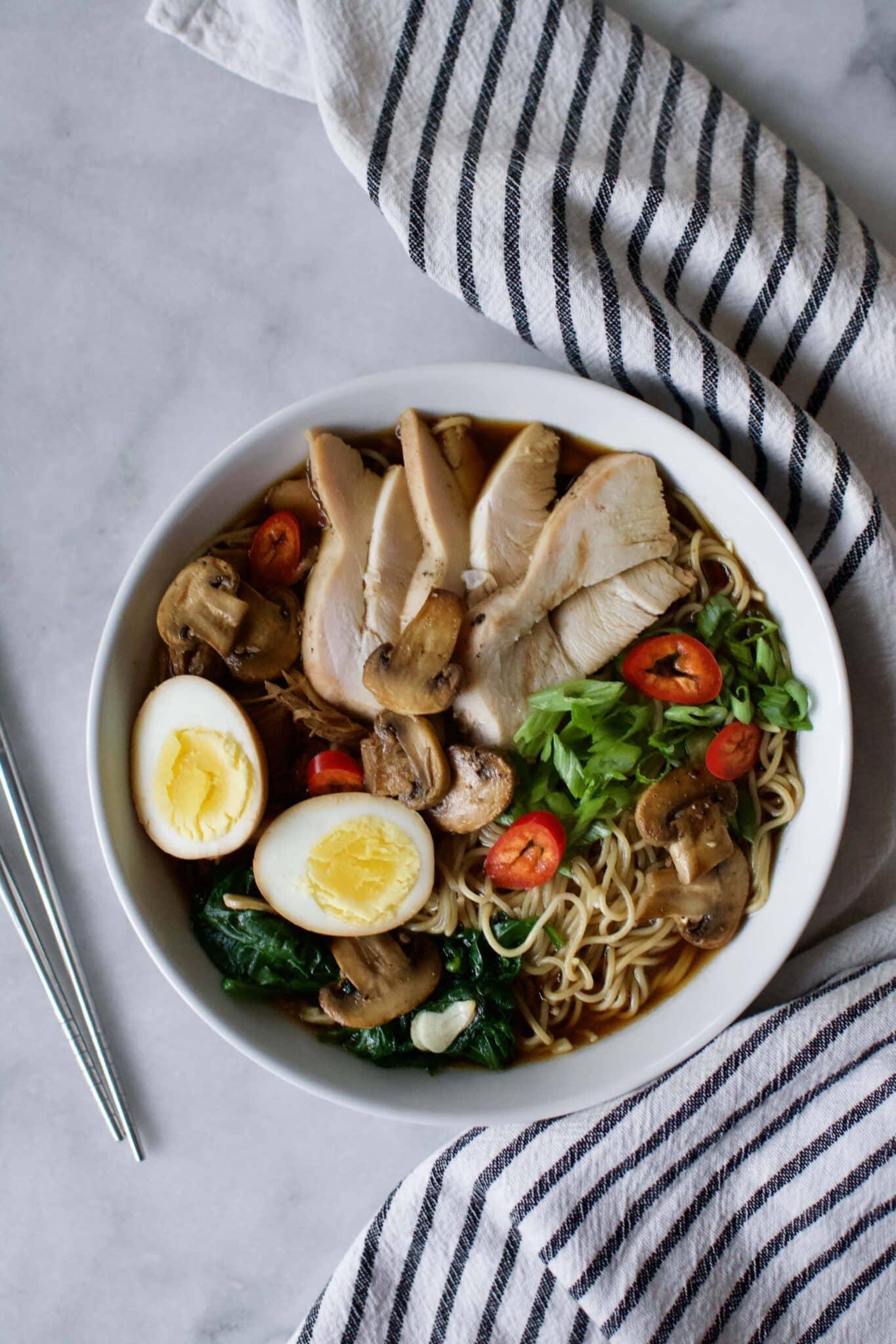 Leftover Thanksgiving Turkey Ramen Noodle Soup.