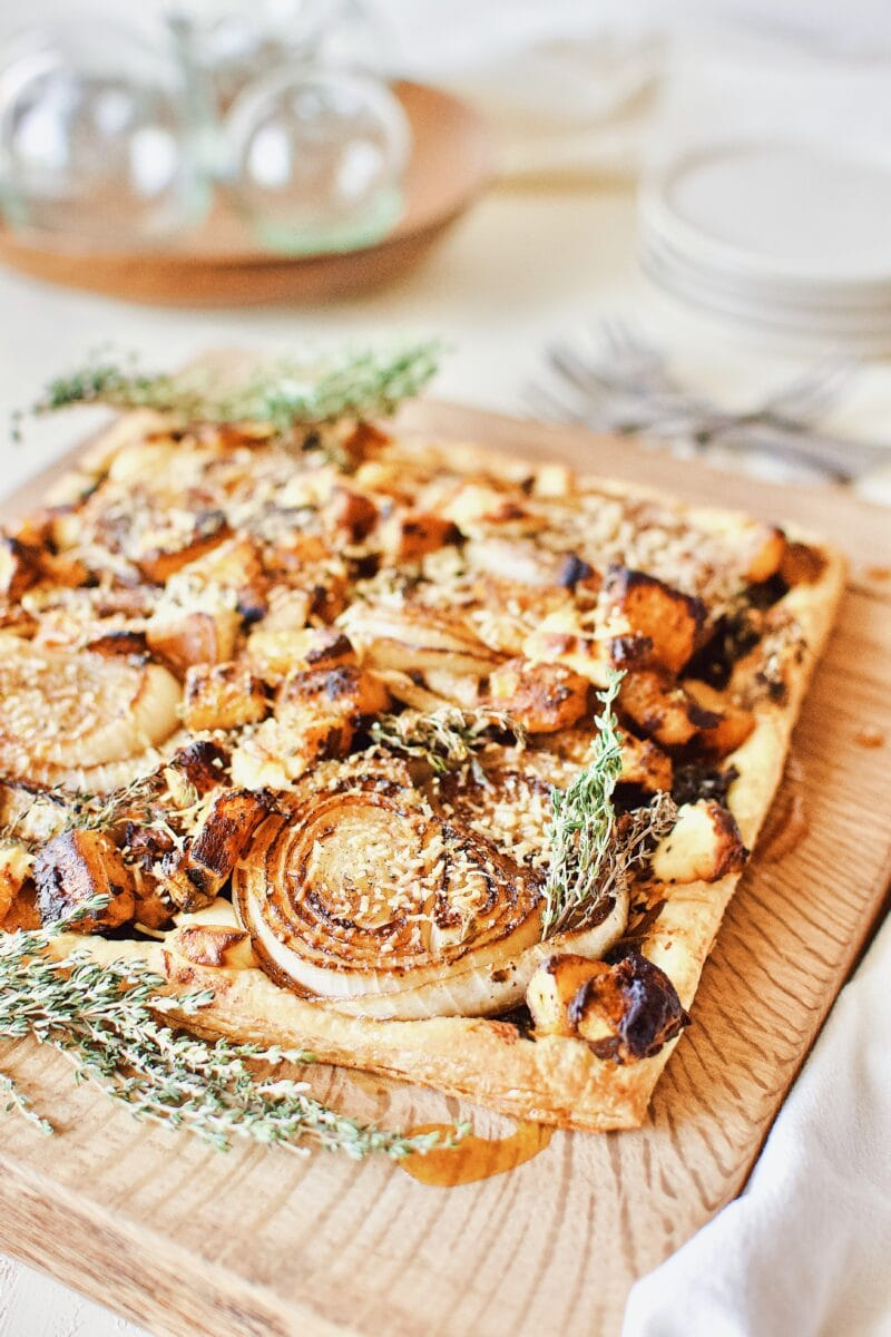 Butternut Squash and Caramelized Onion Tart.