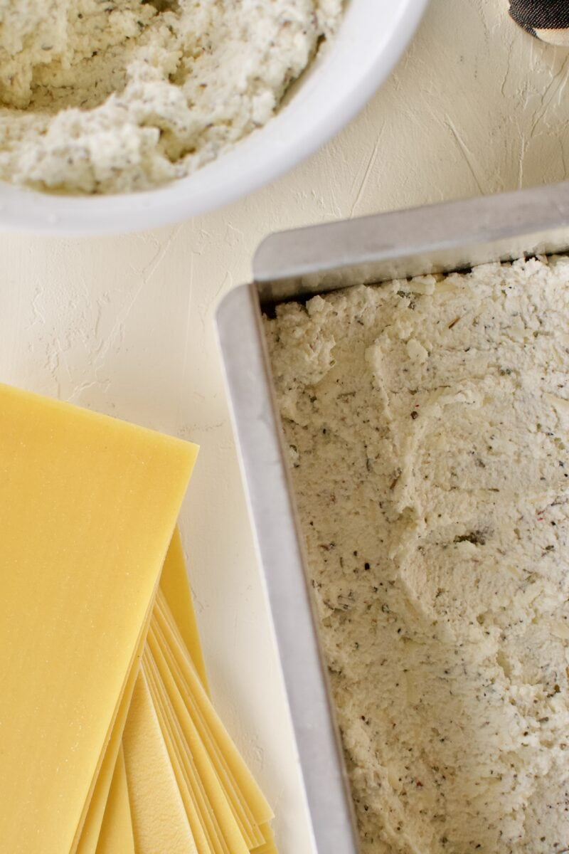 Third layer, seasoned ricotta cheese.