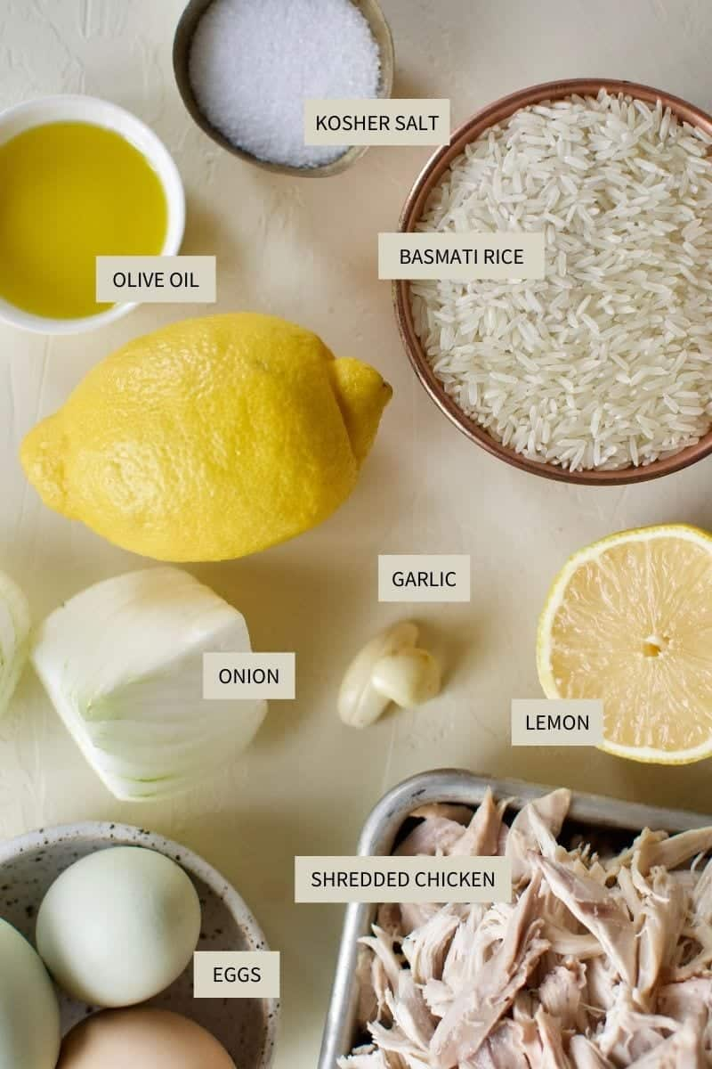 ingredients needed to make Greek Lemon Rice Soup.