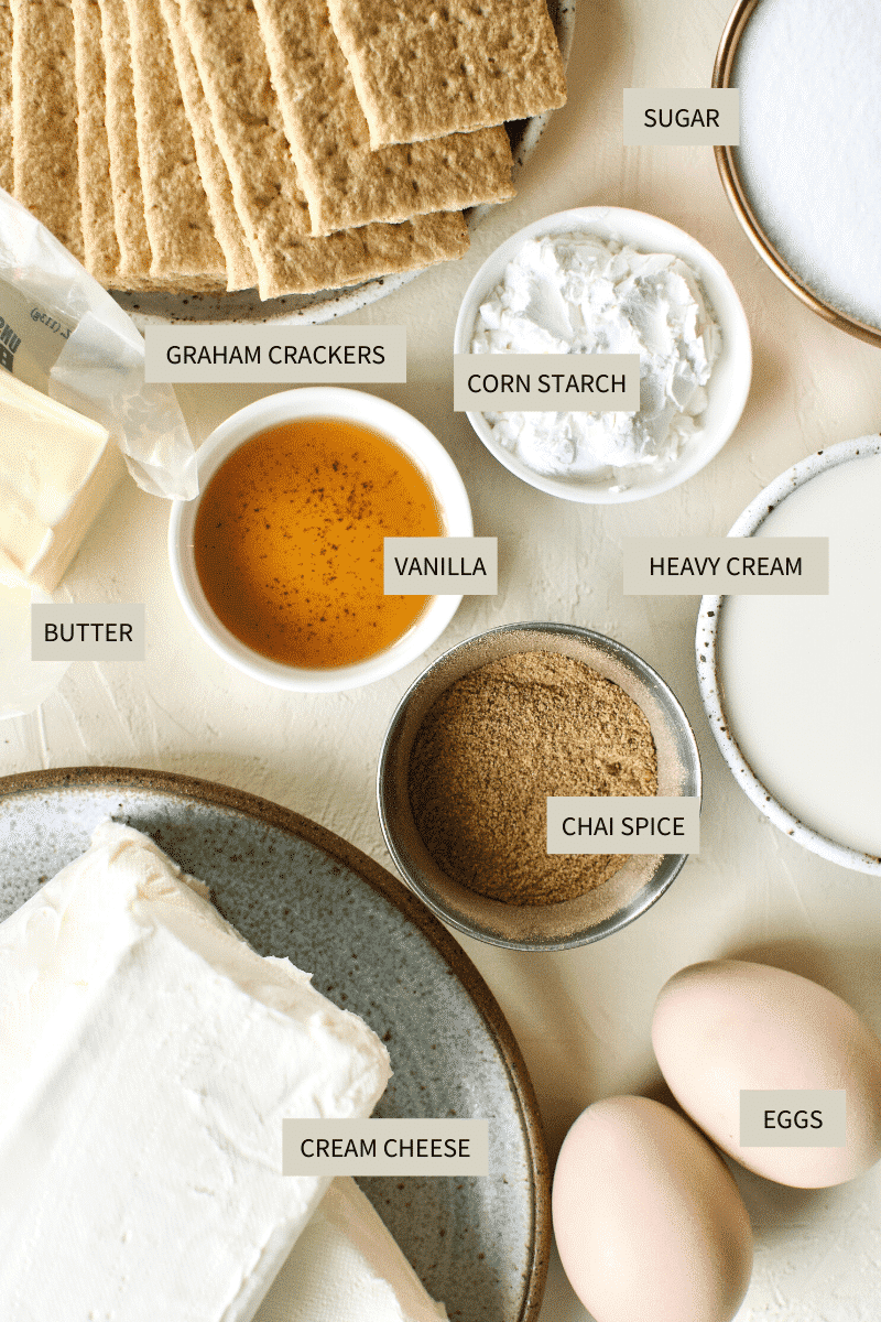 Chai-Spiced Cheesecake ingredients needed photo.