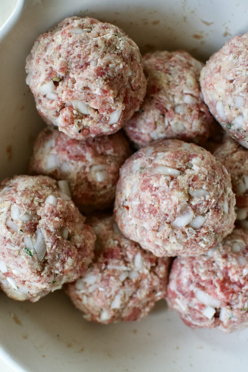 All the Giant Meatballs portioned out.