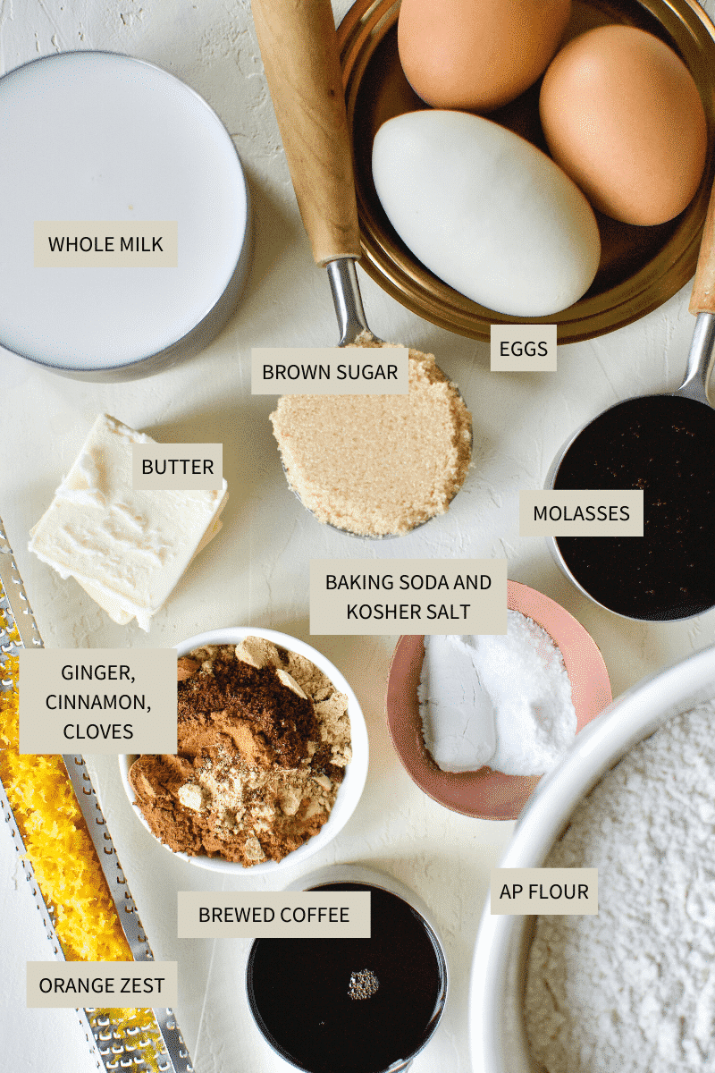 Gingerbread Pancakes Ingredients laid out on a table.