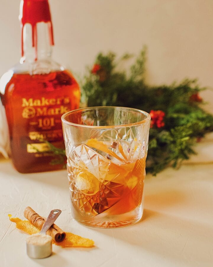 Bourbon Brown Sugar Old-Fashioned Cocktail.